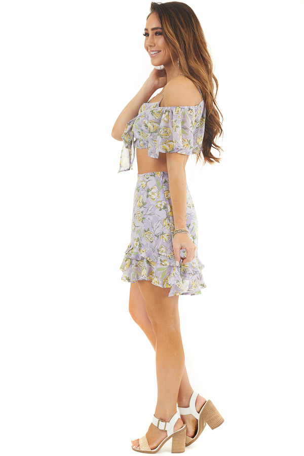 Lavender Floral Crop Top and Mini Skirt Two Piece Set side full body