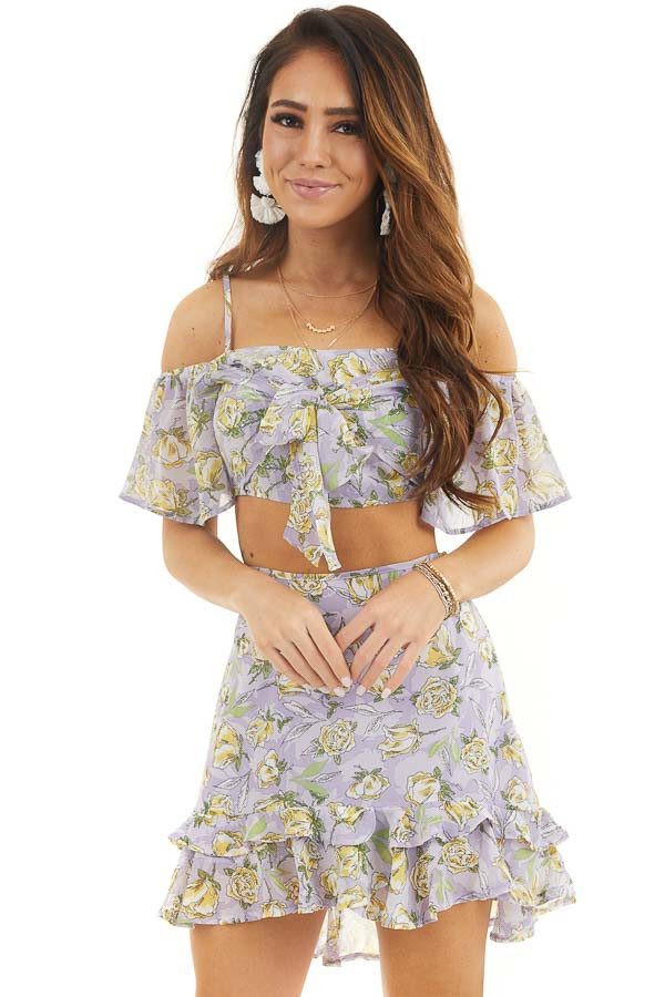 Lavender Floral Crop Top and Mini Skirt Two Piece Set front close up