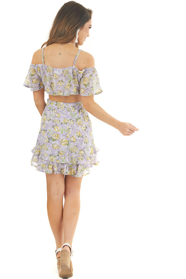 Lavender Floral Crop Top and Mini Skirt Two Piece Set back full body