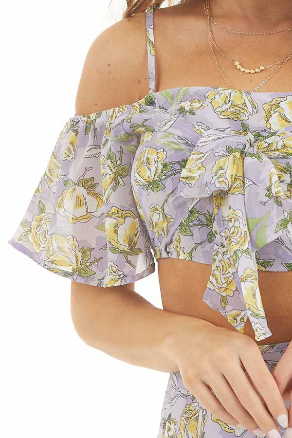 Lavender Floral Crop Top and Mini Skirt Two Piece Set detail