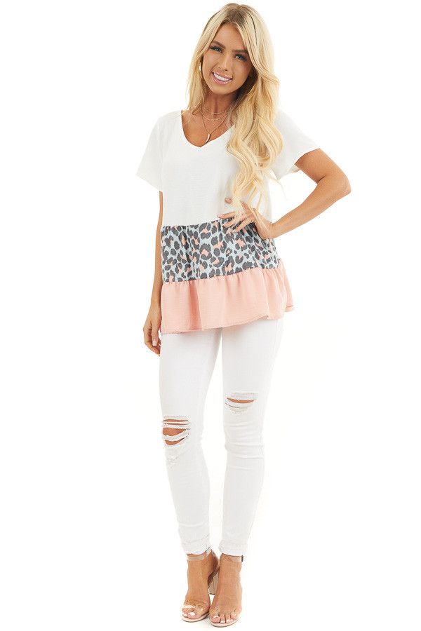 Ivory Leopard Print Color Block Top with Ruffle Details front full body
