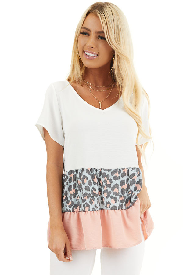 Ivory Leopard Print Color Block Top with Ruffle Details front close up