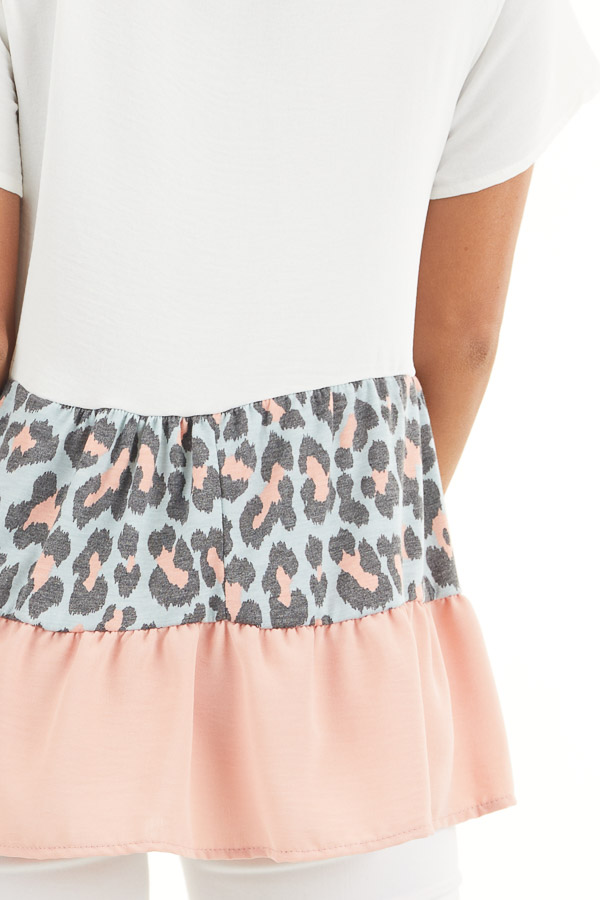 Ivory Leopard Print Color Block Top with Ruffle Details detail