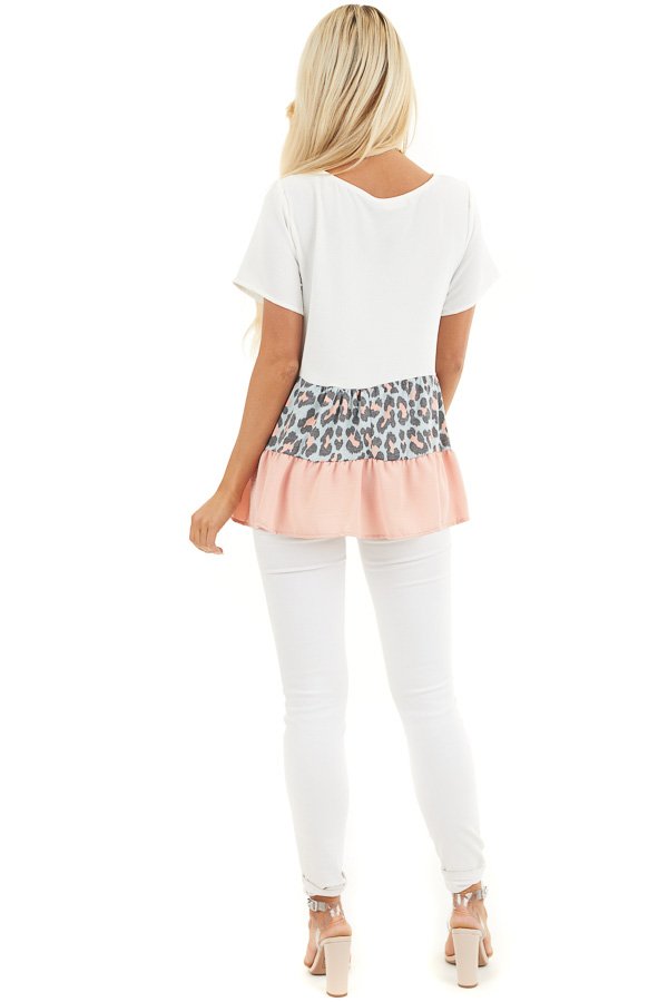 Ivory Leopard Print Color Block Top with Ruffle Details back full body