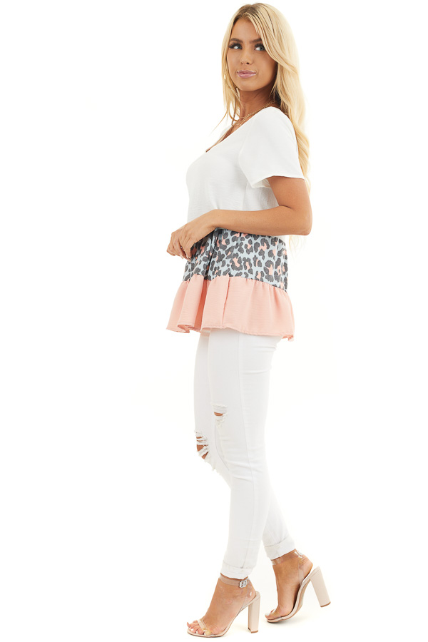 Ivory Leopard Print Color Block Top with Ruffle Details side full body