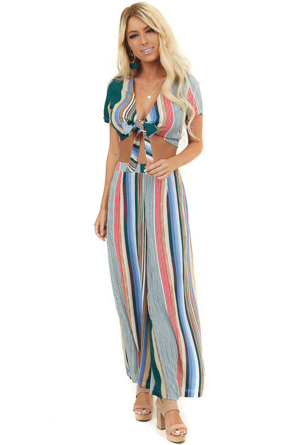 Multicolor Striped Crop Top and Wide Leg Pants Two Piece Set