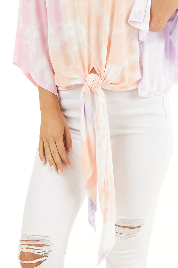 Multicolor Tie Dye Top with V Neckline and Kimono Sleeves detail