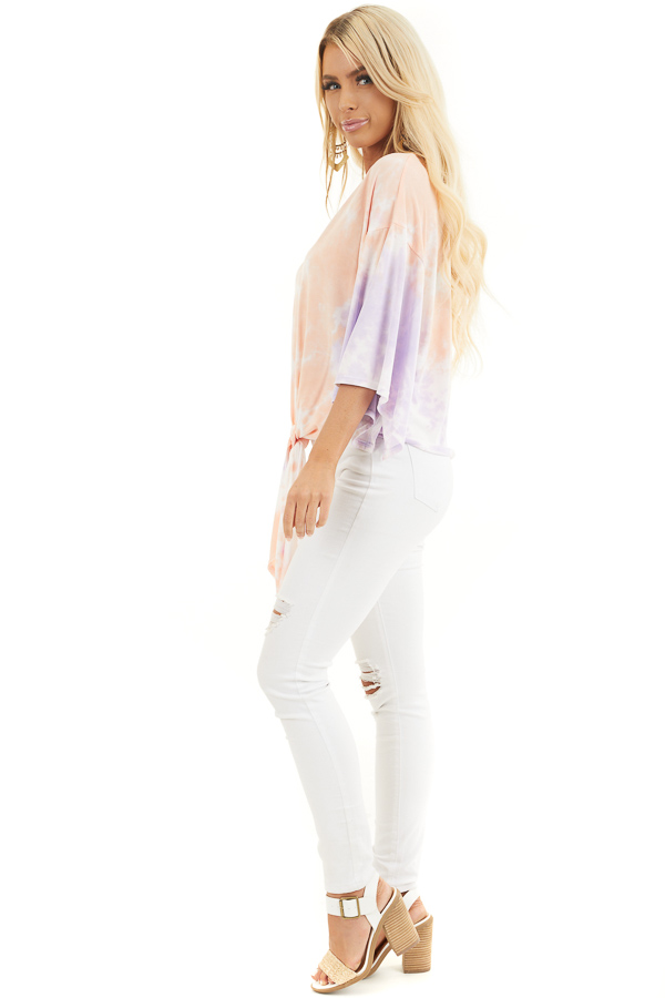 Multicolor Tie Dye Top with V Neckline and Kimono Sleeves side full body