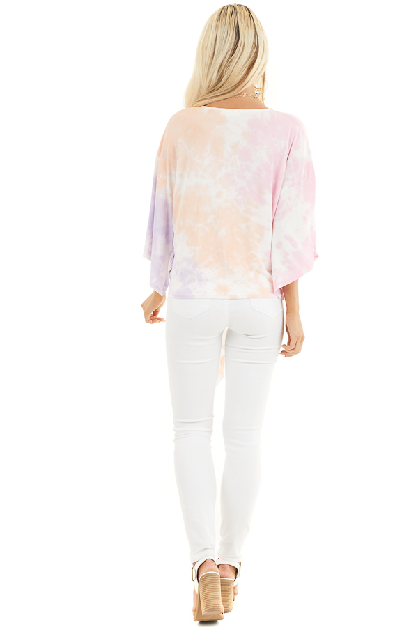 Multicolor Tie Dye Top with V Neckline and Kimono Sleeves back full body