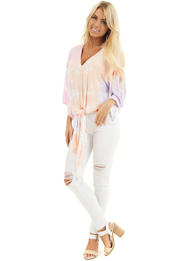 Multicolor Tie Dye Top with V Neckline and Kimono Sleeves front full body