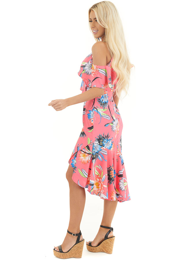 Hot Pink Floral Surplice Dress with Ruffle Details side full body