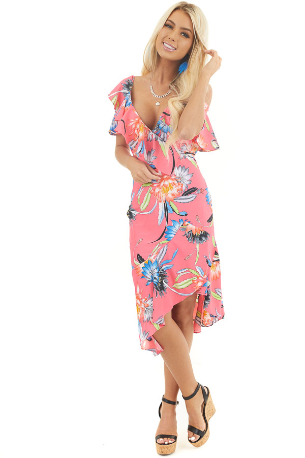 Hot Pink Floral Surplice Dress with Ruffle Details front full body
