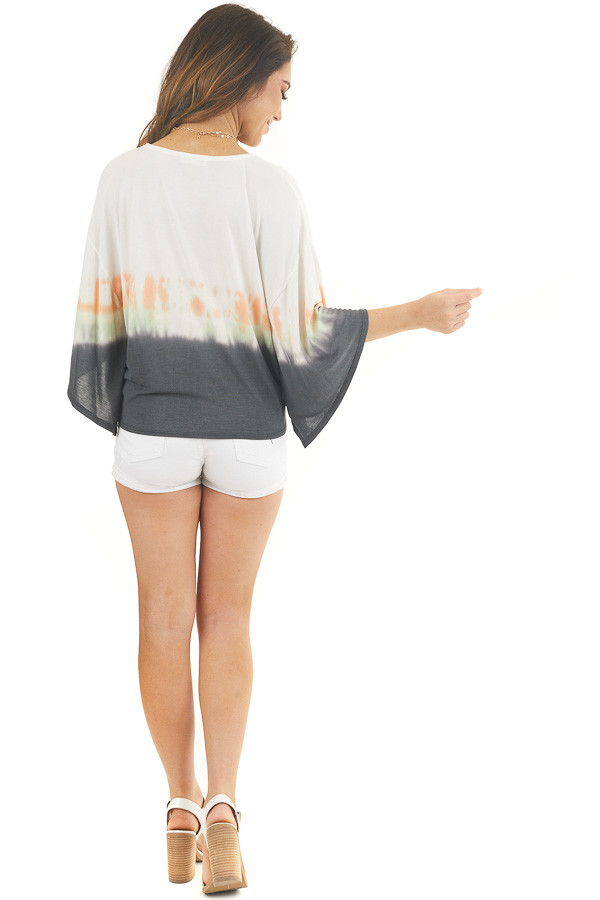 White and Charcoal Tie Dye Top with Front Tie and V Neckline back full body