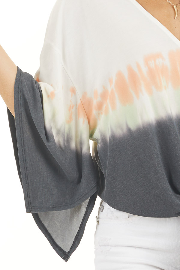 White and Charcoal Tie Dye Top with Front Tie and V Neckline detail