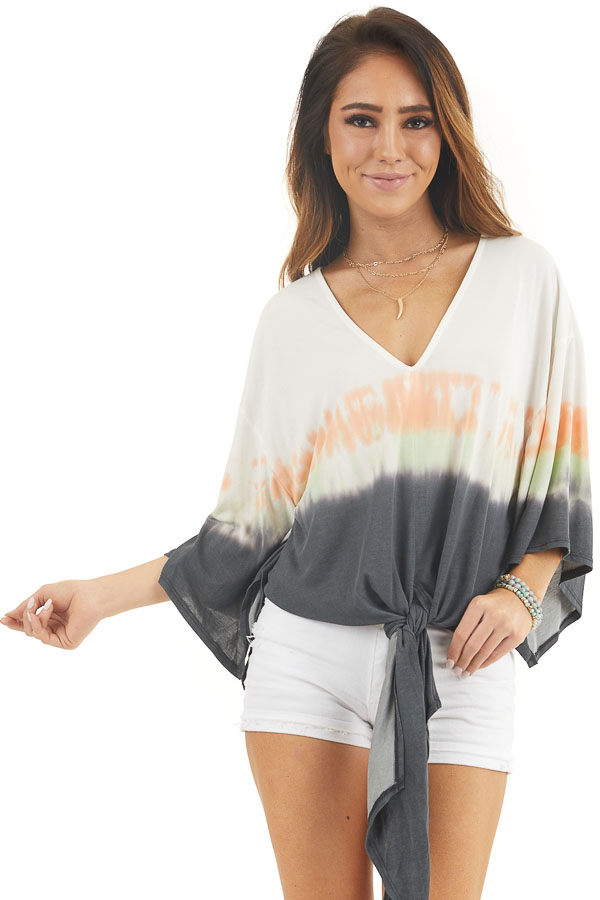 White and Charcoal Tie Dye Top with Front Tie and V Neckline front close up