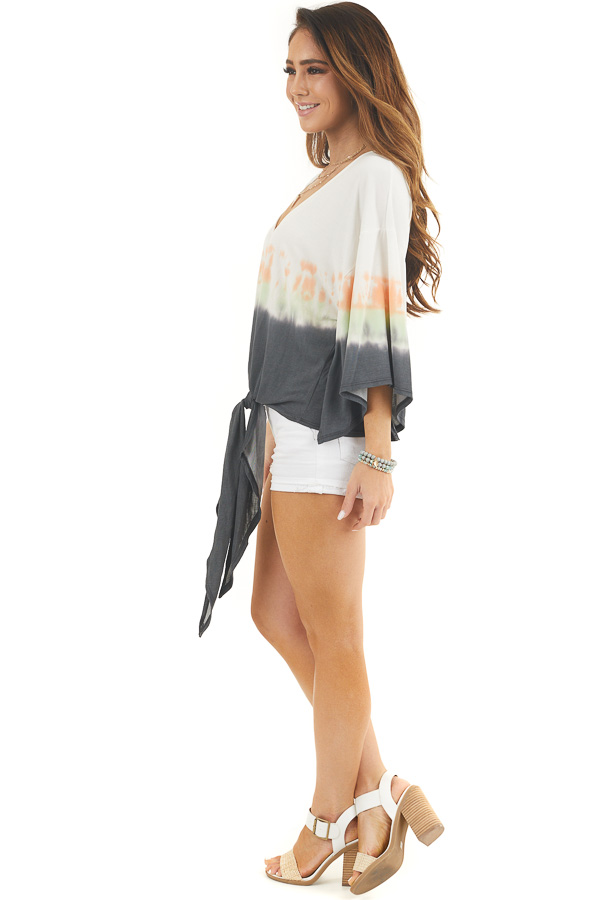 White and Charcoal Tie Dye Top with Front Tie and V Neckline side full body