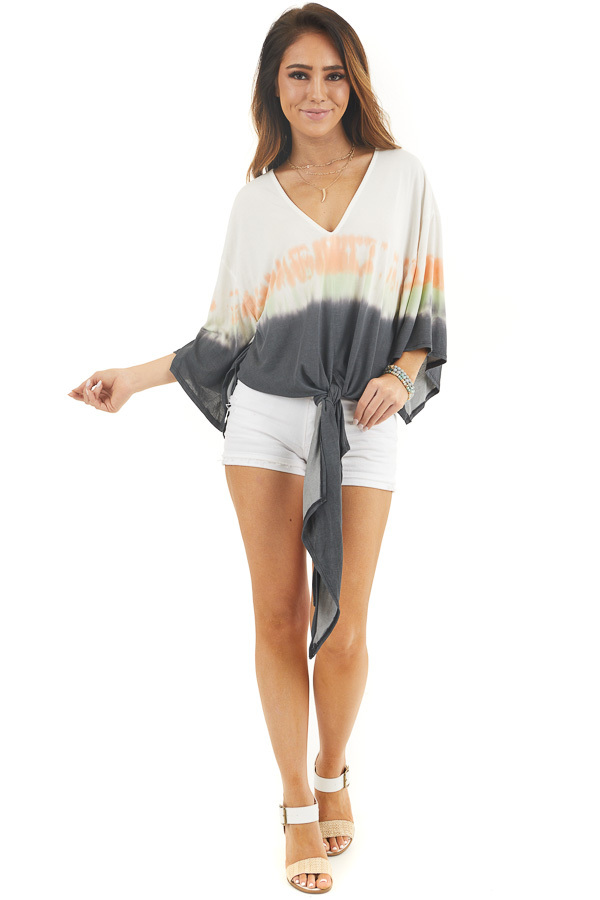 White and Charcoal Tie Dye Top with Front Tie and V Neckline front full body