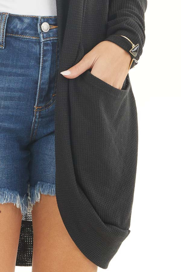 Black Textured Knit Long Sleeve Cardigan with Pockets detail
