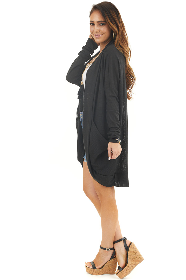 Black Textured Knit Long Sleeve Cardigan with Pockets side full body