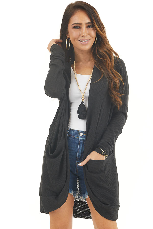 Black Textured Knit Long Sleeve Cardigan with Pockets front close up