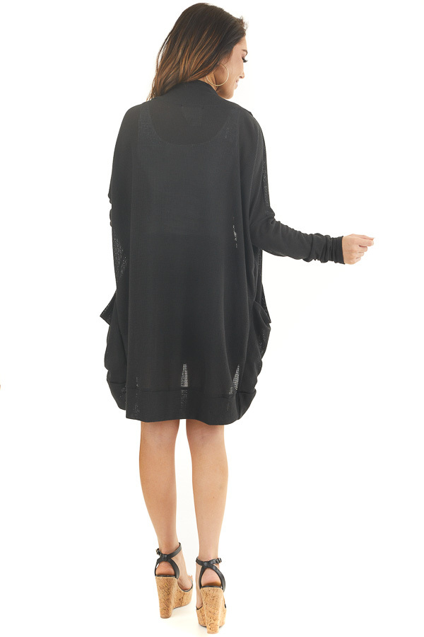 Black Textured Knit Long Sleeve Cardigan with Pockets back full body
