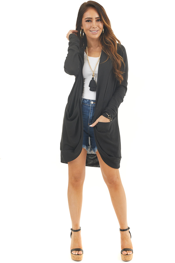 Black Textured Knit Long Sleeve Cardigan with Pockets front full body