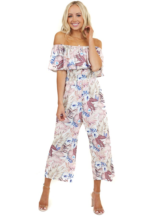Blush Floral Print Off Shoulder Jumpsuit with Cinched Waist