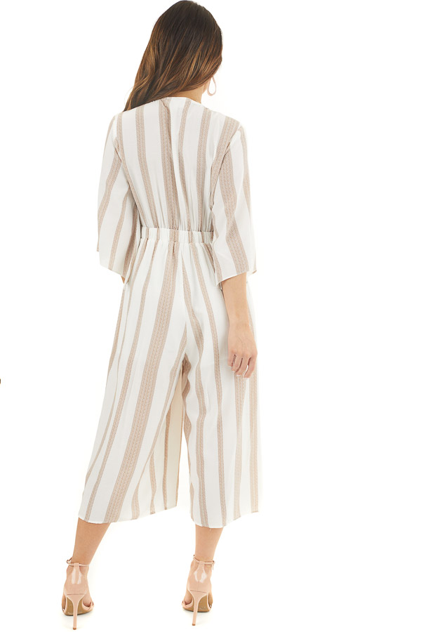 Off White and Camel Printed Jumpsuit with Tie at Bust back full body