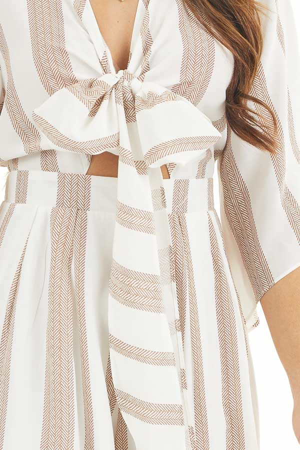 Off White and Camel Printed Jumpsuit with Tie at Bust detail