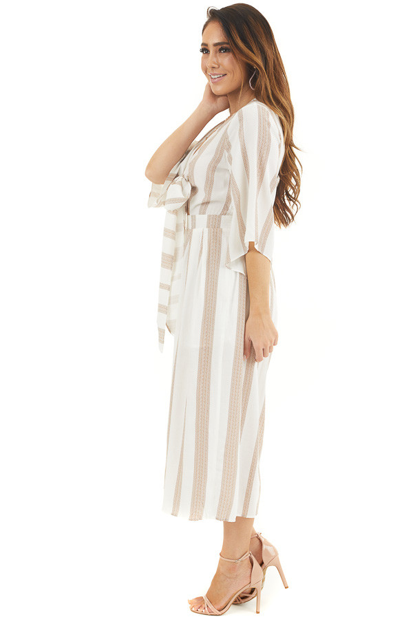 Off White and Camel Printed Jumpsuit with Tie at Bust side full body