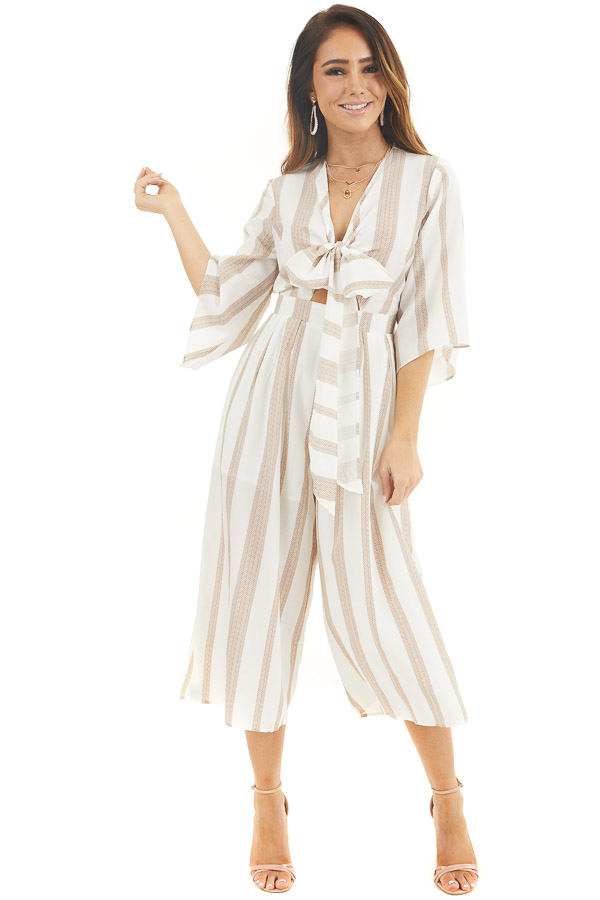Off White and Camel Printed Jumpsuit with Tie at Bust front full body