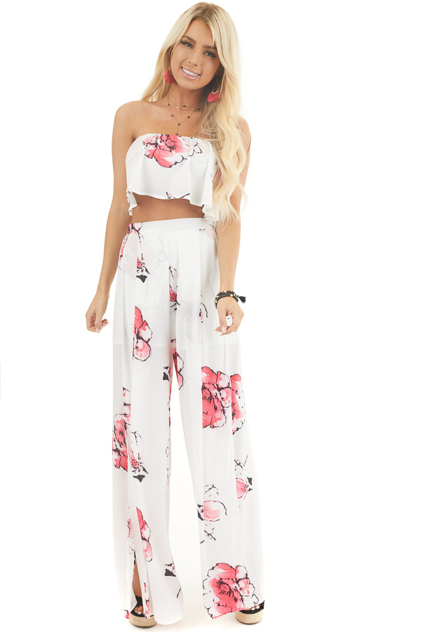 White and Pink Floral Crop Top and Pants Two Piece Set front full body