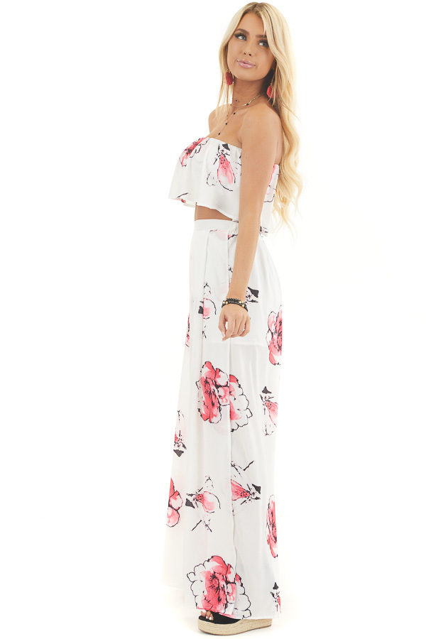 White and Pink Floral Crop Top and Pants Two Piece Set side full body