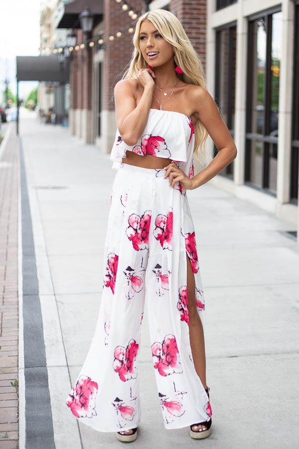 White and Pink Floral Crop Top and Pants Two Piece Set