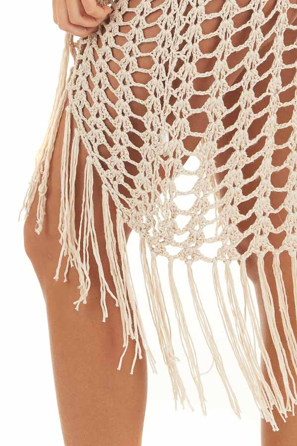 Oatmeal Open Front Crochet Knit Bathing Suit Cover Up detail