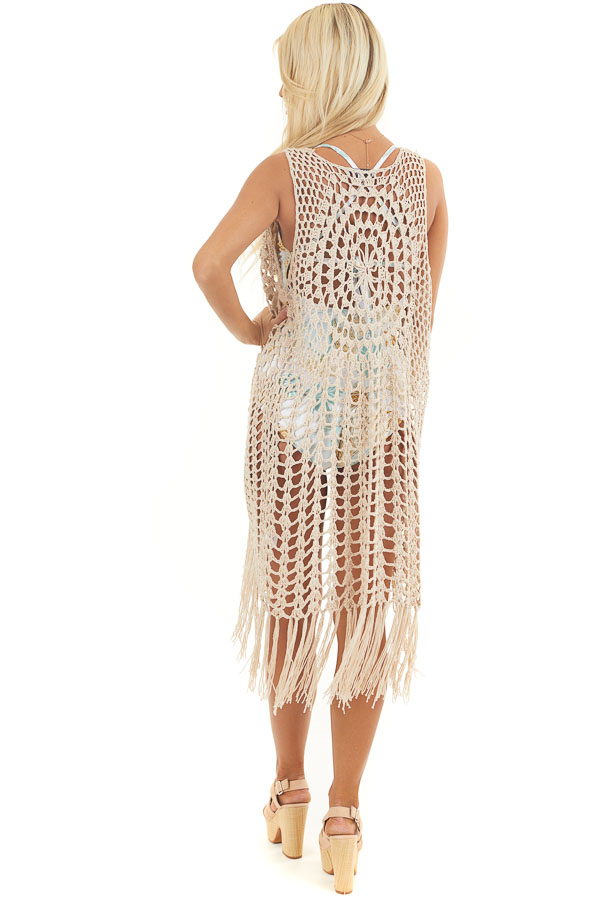 Oatmeal Open Front Crochet Knit Bathing Suit Cover Up back full body