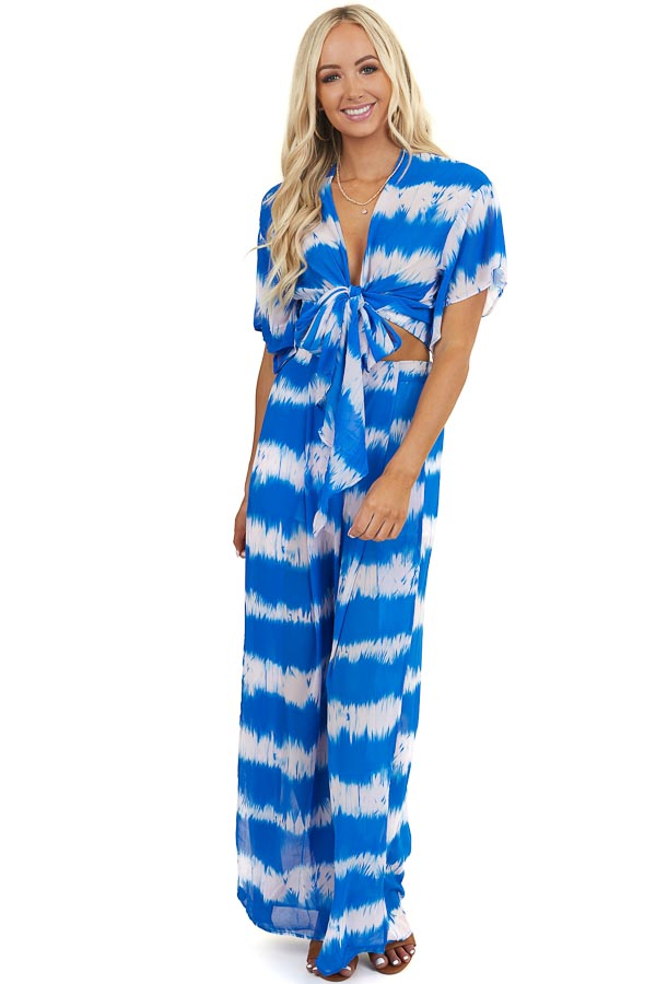 Royal Blue Tie Dye Crop Top and Wide Leg Pants Two Piece Set