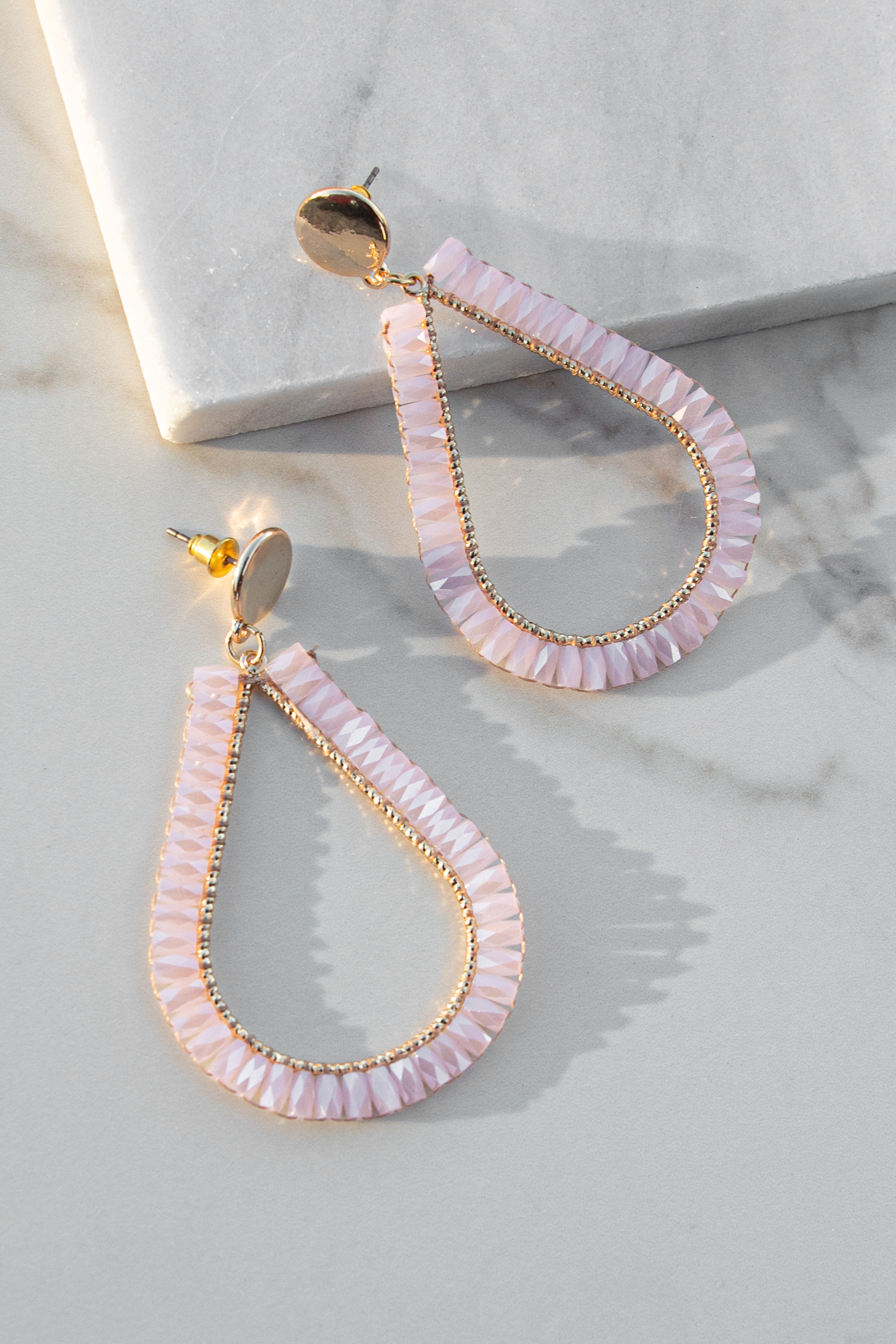 Gold and Blush Tear Drop Dangle Earrings with Beaded Details