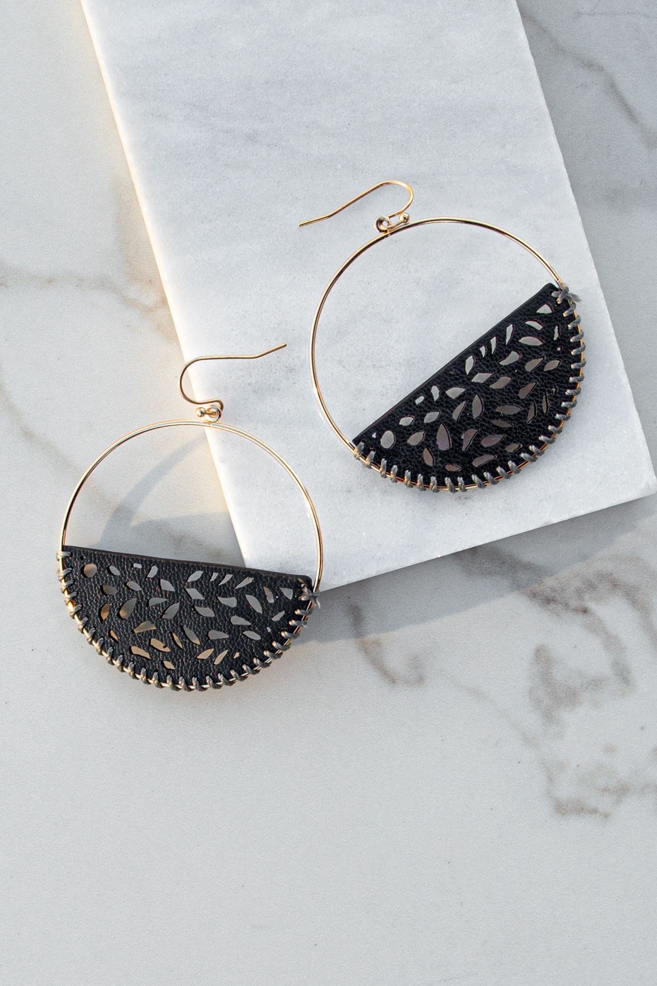 Black Faux Leather Earrings with Laser Cut Out Details