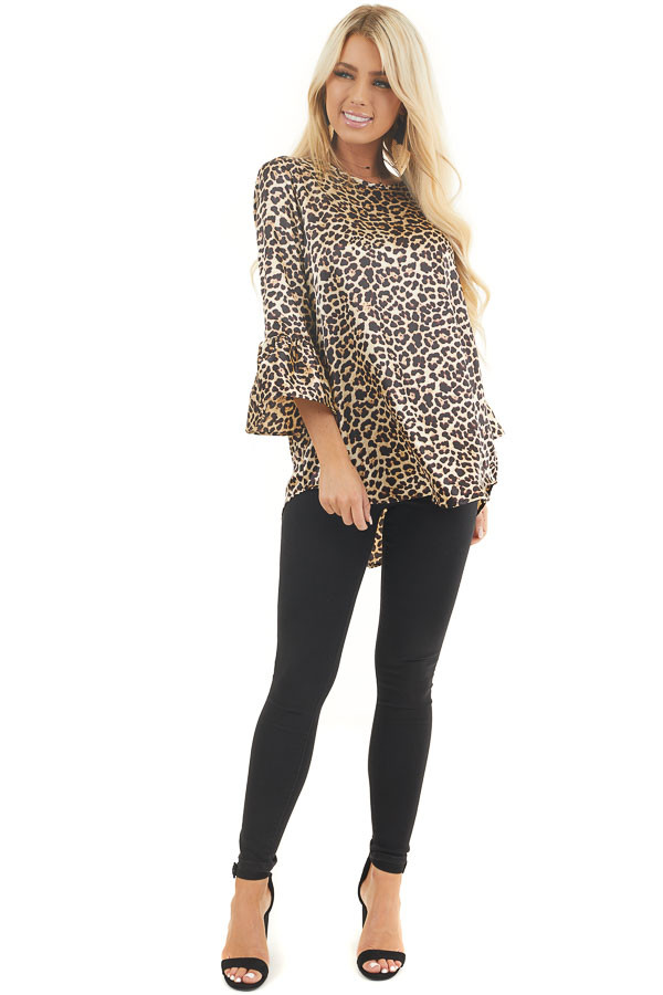 Champagne and Black Leopard Print Long Ruffle Sleeve Top front full body