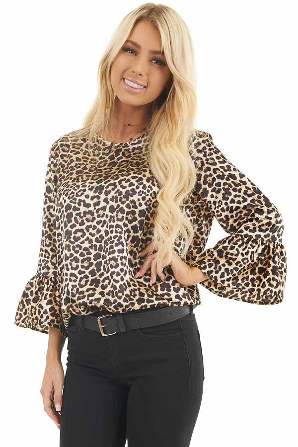 Champagne and Black Leopard Print Long Ruffle Sleeve Top front close up