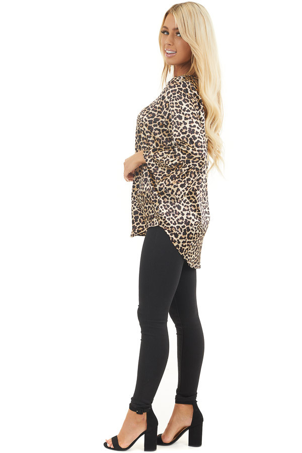 Champagne and Black Leopard Print Long Ruffle Sleeve Top side full body