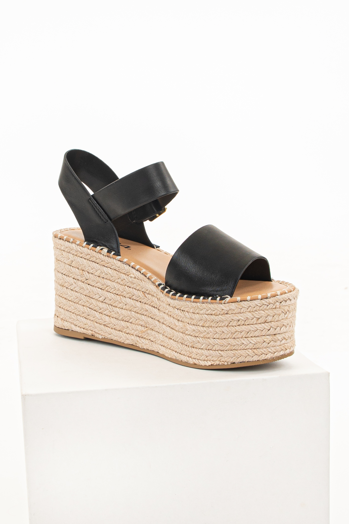 Black Faux Leather Espadrille Wedge Sandals with Buckle