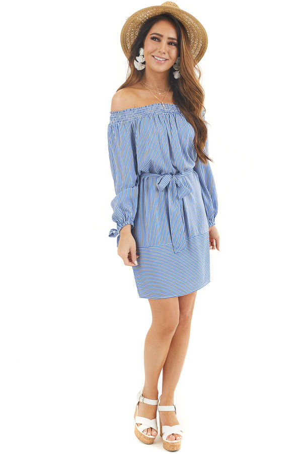 Cornflower and Off White Pinstripe Off the Shoulder Dress front full body