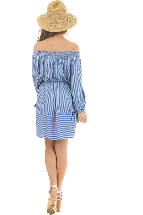 Cornflower and Off White Pinstripe Off the Shoulder Dress back full body