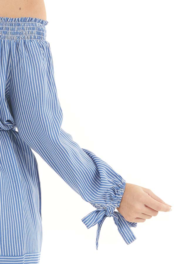 Cornflower and Off White Pinstripe Off the Shoulder Dress detail