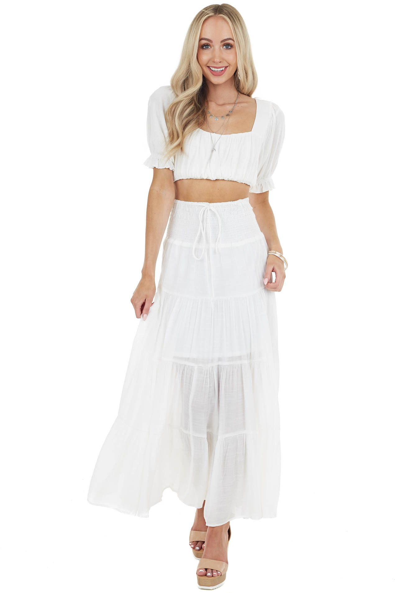 Off White Smocked Waist Tiered Maxi Skirt with Front Tie