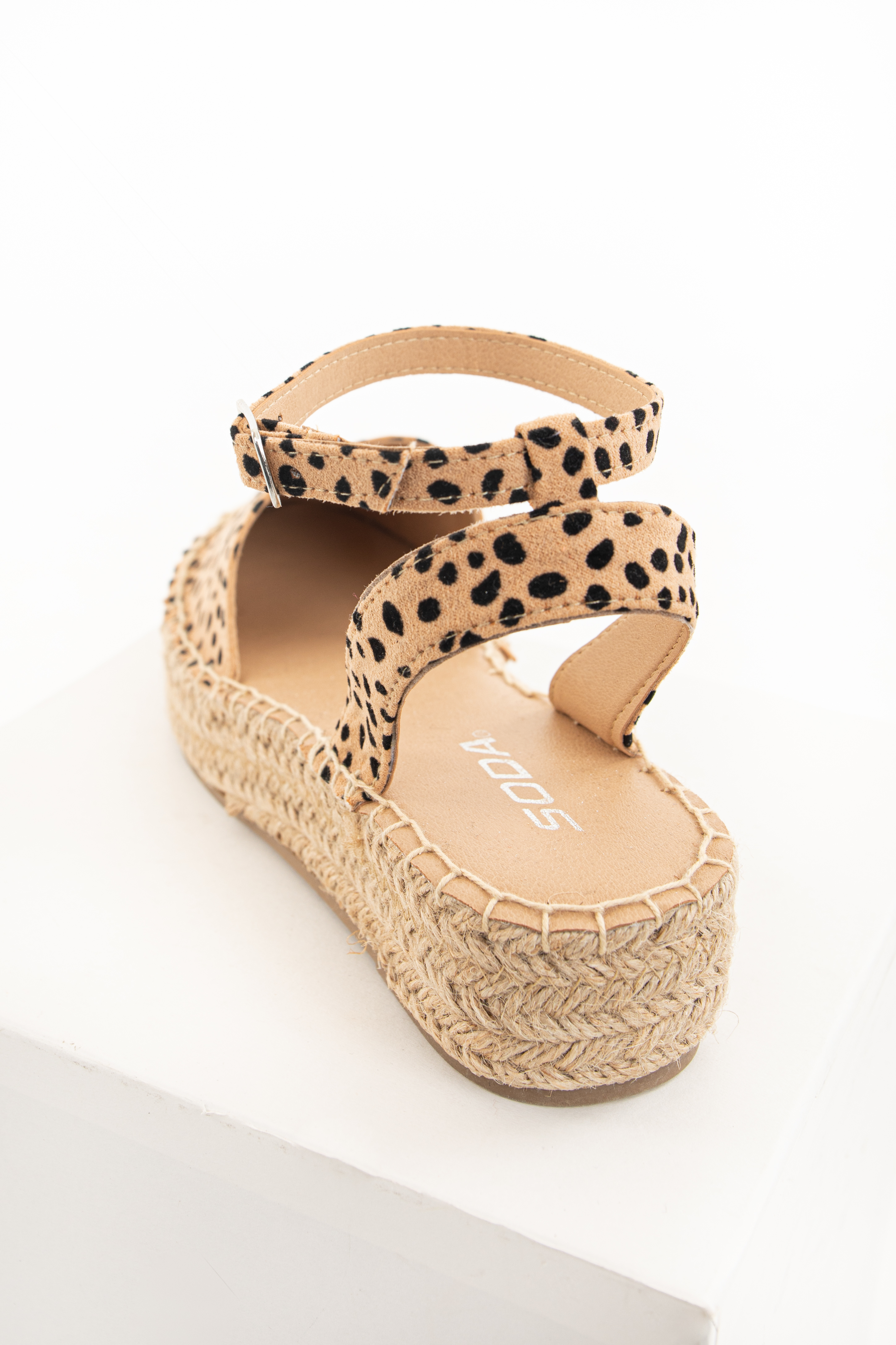 Tan Cheetah Print Closed Toed Espadrille Platform Sandals