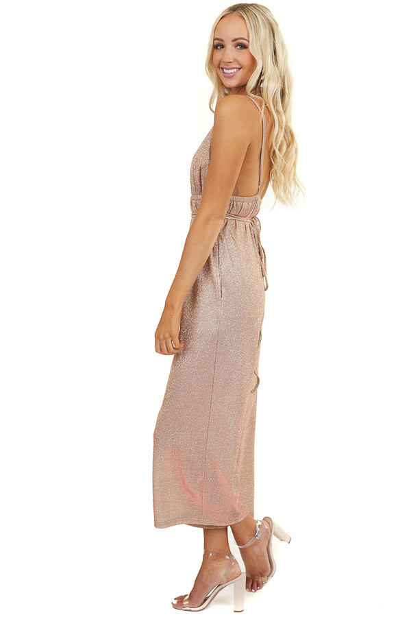 Nude Two Tone Glitter Spaghetti Strap Jumpsuit with Pockets