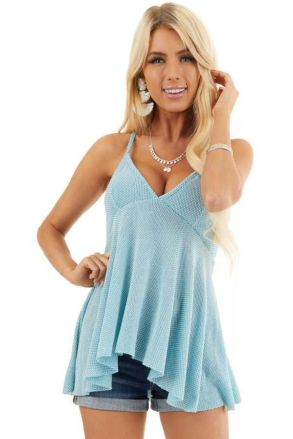 Turquoise Two Tone Sleeveless Top with Flared Bottom front close up